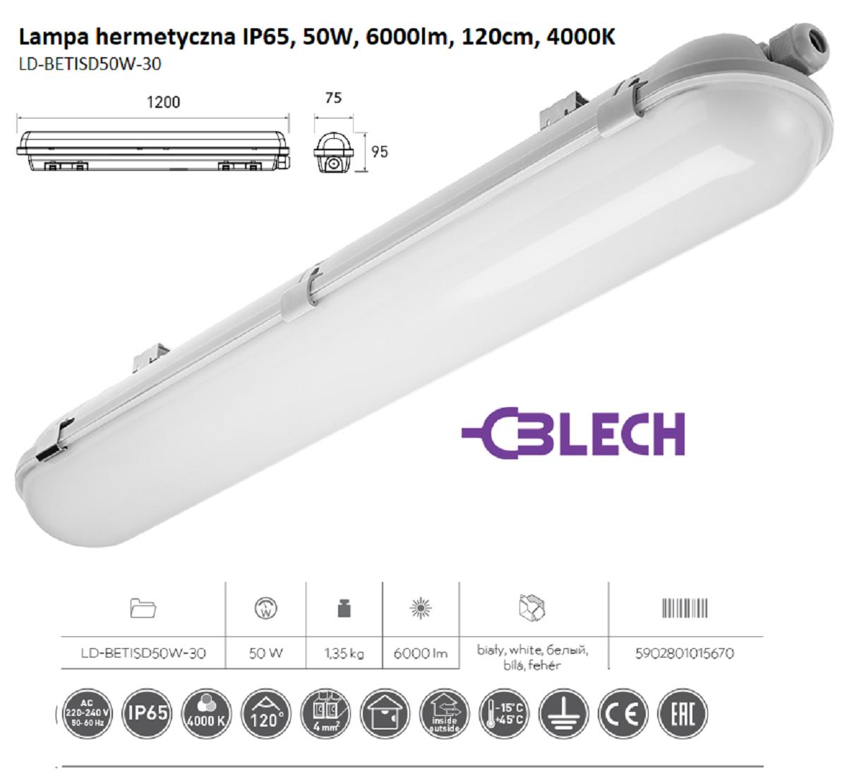 GTV_BETISD50W-30_Lampa hermetyczna IP65